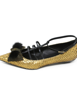 Lanvin Gold Black Python Leather Flats with Rhinestone and Mink Detail 2