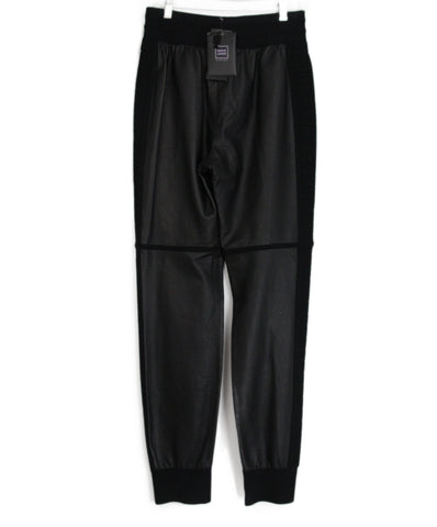 Leger Black Leather Viscose Pants 1