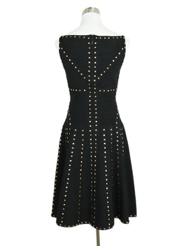 Herve Leger Black Rayon Spandex Studs Dress 1