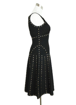 Herve Leger Black Rayon Spandex Studs Dress 2