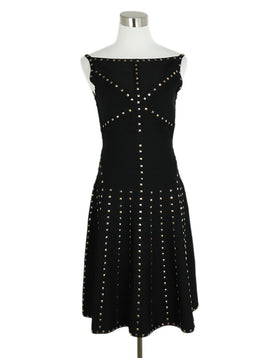 Herve Leger Black Rayon Spandex Studs Dress 3
