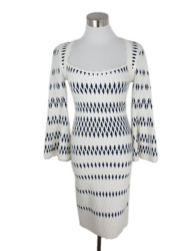 Leger White Navy Polyamide Spandex Longsleeve Dress 1