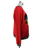 Leitmotiv Red Pullover Sweater with Smiley Face Graphic 2