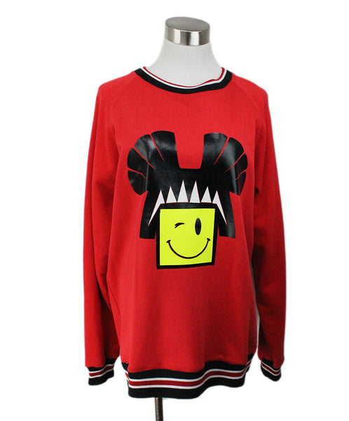 Leitmotiv Red Pullover Sweater with Smiley Face Graphic 1