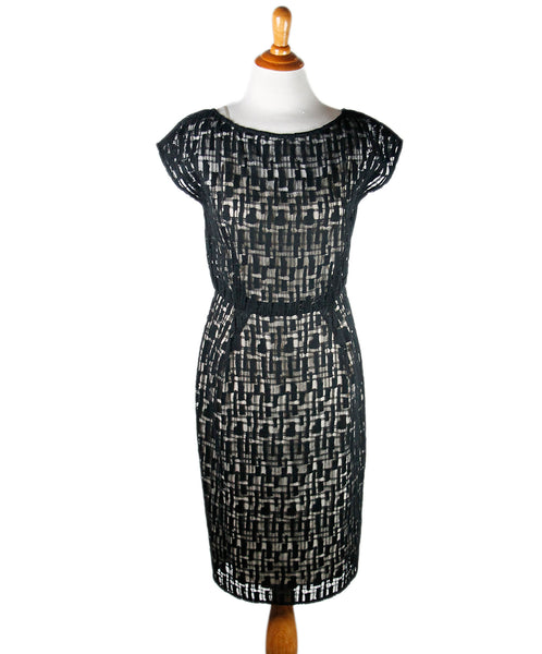 Lela Rose Black and Nude Cotton Dress Sz 4