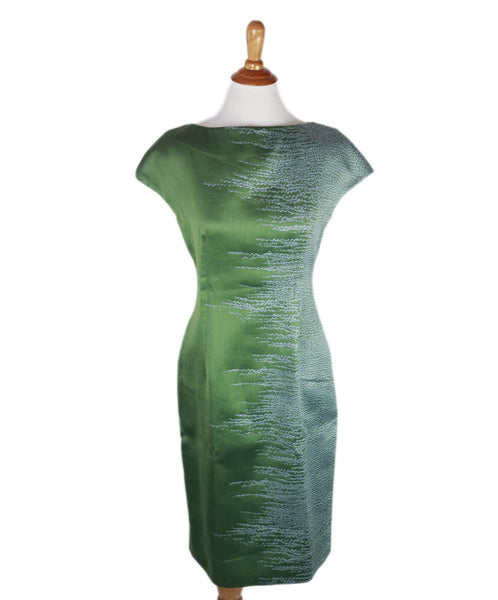 Lela Rose Green Pale Blue Silk Dress Sz 4