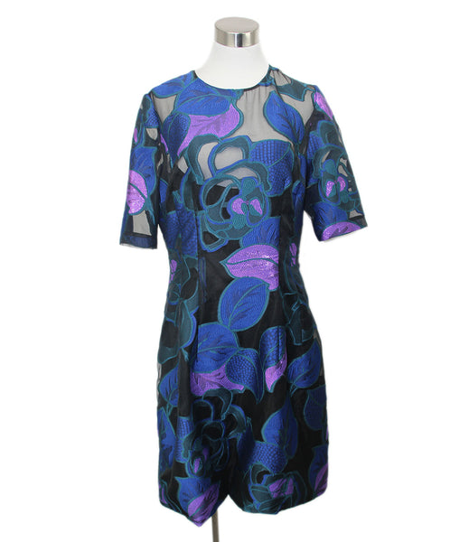 Lela Rose Black Multi print Silk Dress 1
