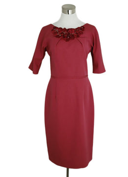 Lela Rose Rasberry Nylon Silver Embroidery Dress 1