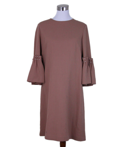 Lela Rose Tan Wool Pearl Detail Dress 1