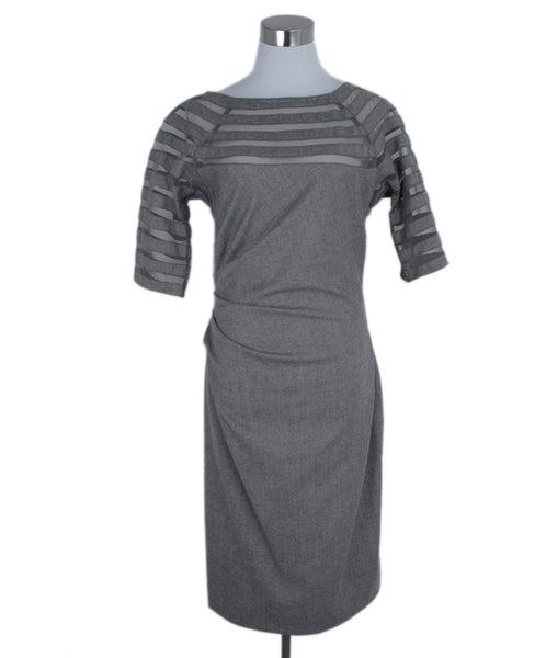 Lela Rose Grey Taupe Wool Illusion Trim Dress 1