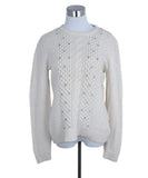 Lela Rose Neutral Ivory Wool Rhinestone Sweater 1