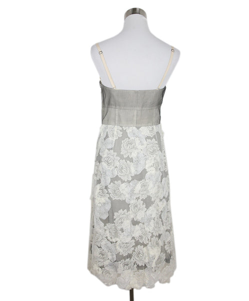 Lela Rose Grey White Cotton Lace Dress 3