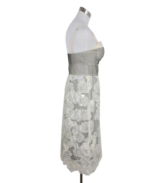 Lela Rose Grey White Cotton Lace Dress 2