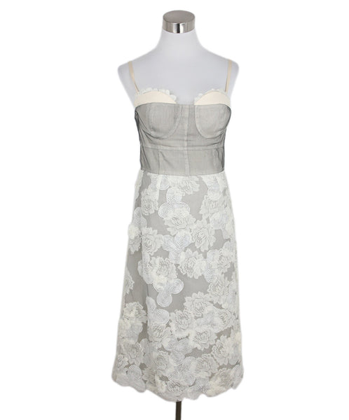 Lela Rose Grey White Cotton Lace Dress 1