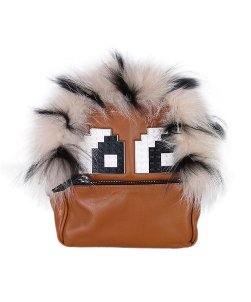 Les Petites Jouers Black Brown Fur Backpack 1