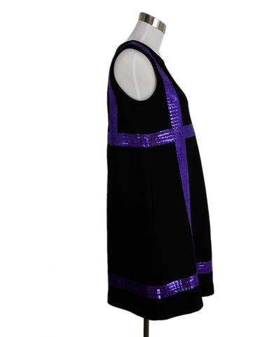 Lisa Perry Black Wool Purple Trim Sequins Dress 1
