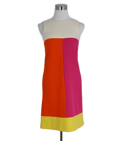 Lisa Perry Orange Fuchsia Ivory Yellow Wool Dress 1