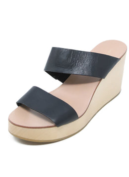 Loeffler Randal Wedge Sandals with Black Leather Strap 1