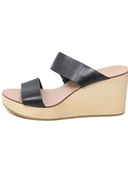 Loeffler Randal Wedge Sandals with Black Leather Strap 2