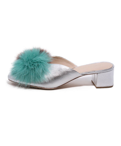 Loeffler Randall Silver Leather Fur Mules 1