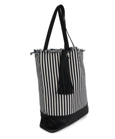 Loeffler Randall White Navy Stripes Cotton Leather Trim Tote Handbag 1