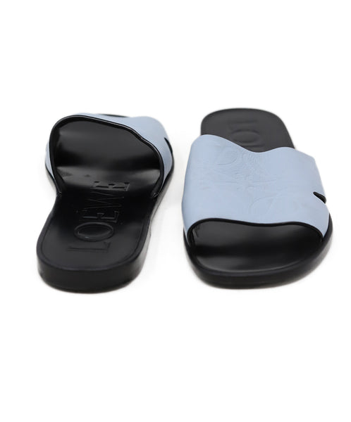 Loewe Blue Leather Slides Sandals Size 7
