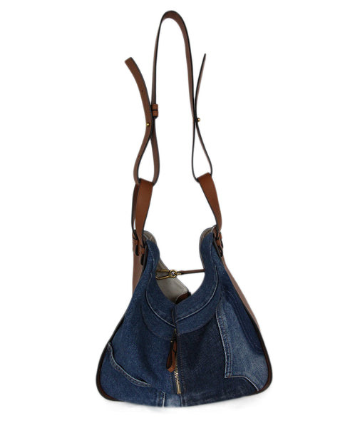 Loewe Denim Tan Leather Hammock Shoulder Bag Handbag 1