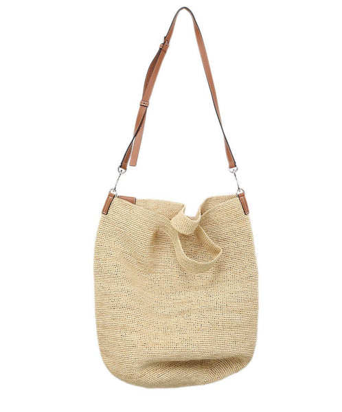 Loewe Neutral Tan Straw W/Strap Handbag 2