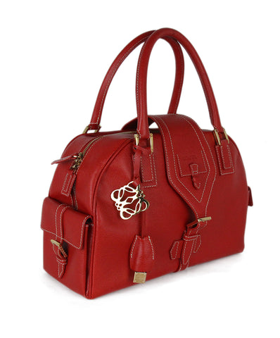 Loewe Red Leather Satchel 1
