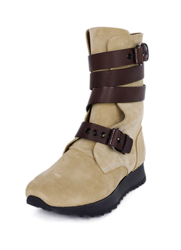 Loewe Neutral Beige Suede Brown Leather Straps Boots 1