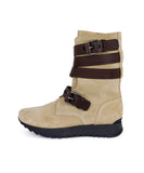 Loewe Neutral Beige Suede Brown Leather Straps Boots 2