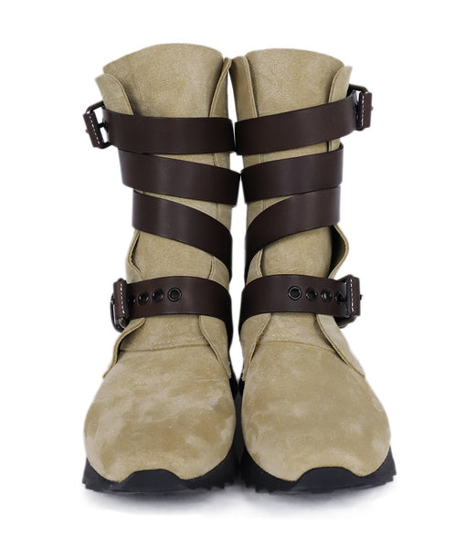 Loewe Neutral Beige Suede Brown Leather Straps Boots 4
