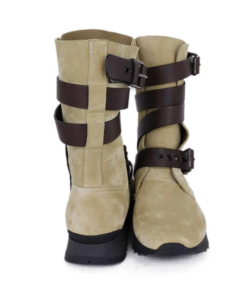 Loewe Neutral Beige Suede Brown Leather Straps Boots 3