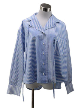 Loewe Blue White Striped Cotton Blouse sz 2