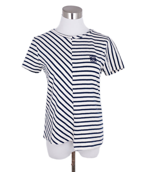 Loewe Blue Navy Beige Stripes Cotton Top 1
