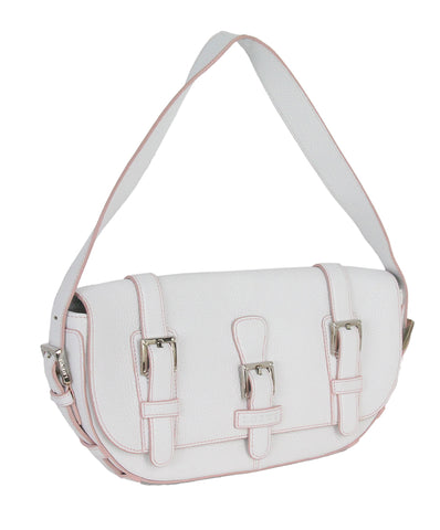 Loewe white leather pink trim bag 1