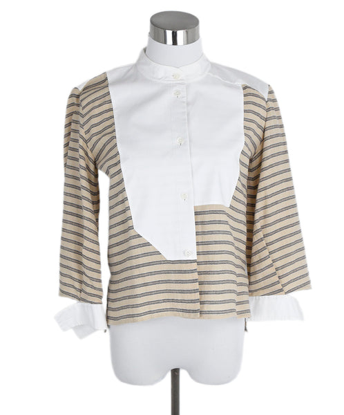 Loewe White Tan Stripes Cotton Top 1