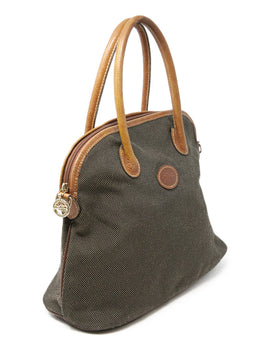 Longchamp Neutral Khaki Canvas Leather Trim Satchel Bag with Strap 2