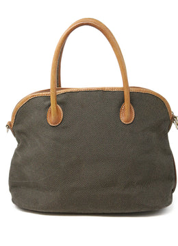 Longchamp Neutral Khaki Canvas Leather Trim Satchel Bag with Strap 1