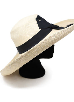 London Beige Straw Black Faille Hat