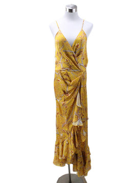 Long Yellow Red Print Silk Dress