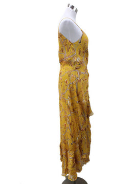 Long Yellow Red Print Silk Dress 1
