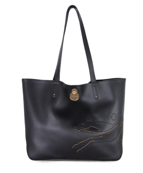 Longchamp Black Leather Tote 1