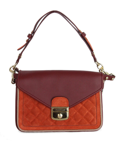 Longchamp Burgundy Leather Orange Suede Crossbody 1