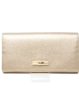 Longchamp Gold Leather Wallet 1