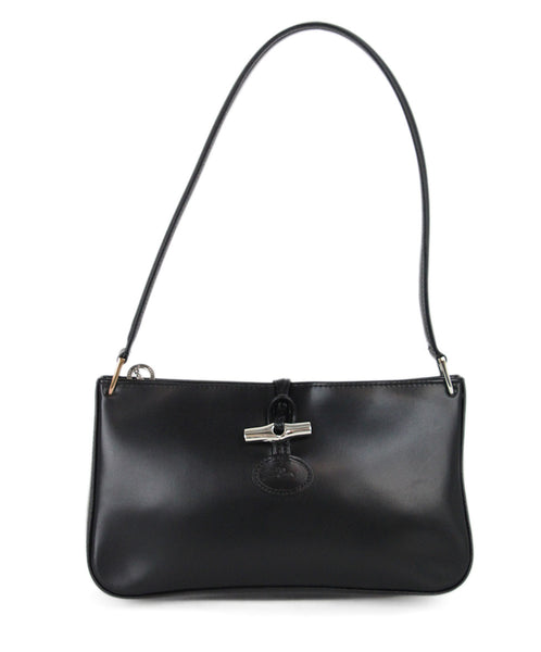 Longchamp black leather shoulder bag 1