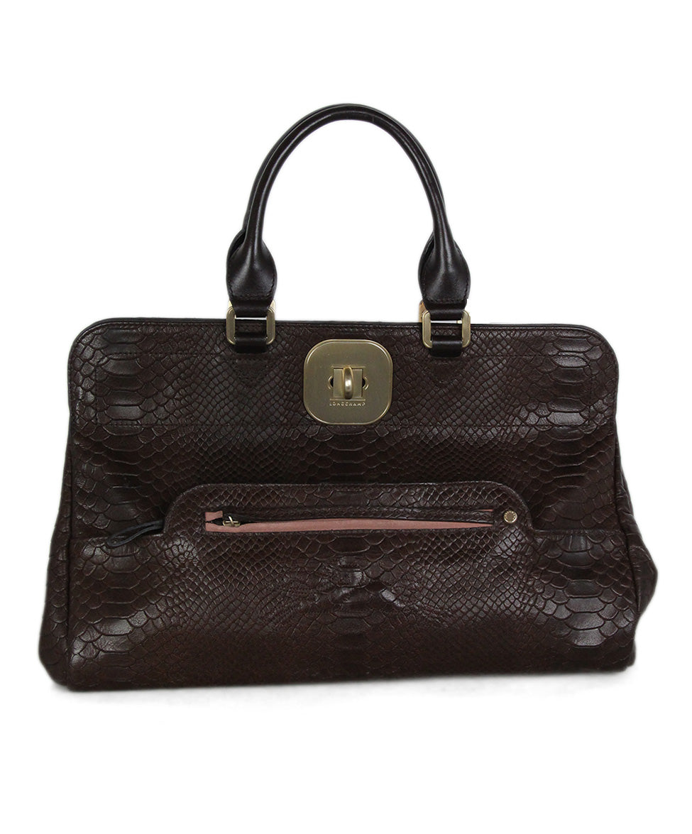Longchamp brown pressed leather satchel 1
