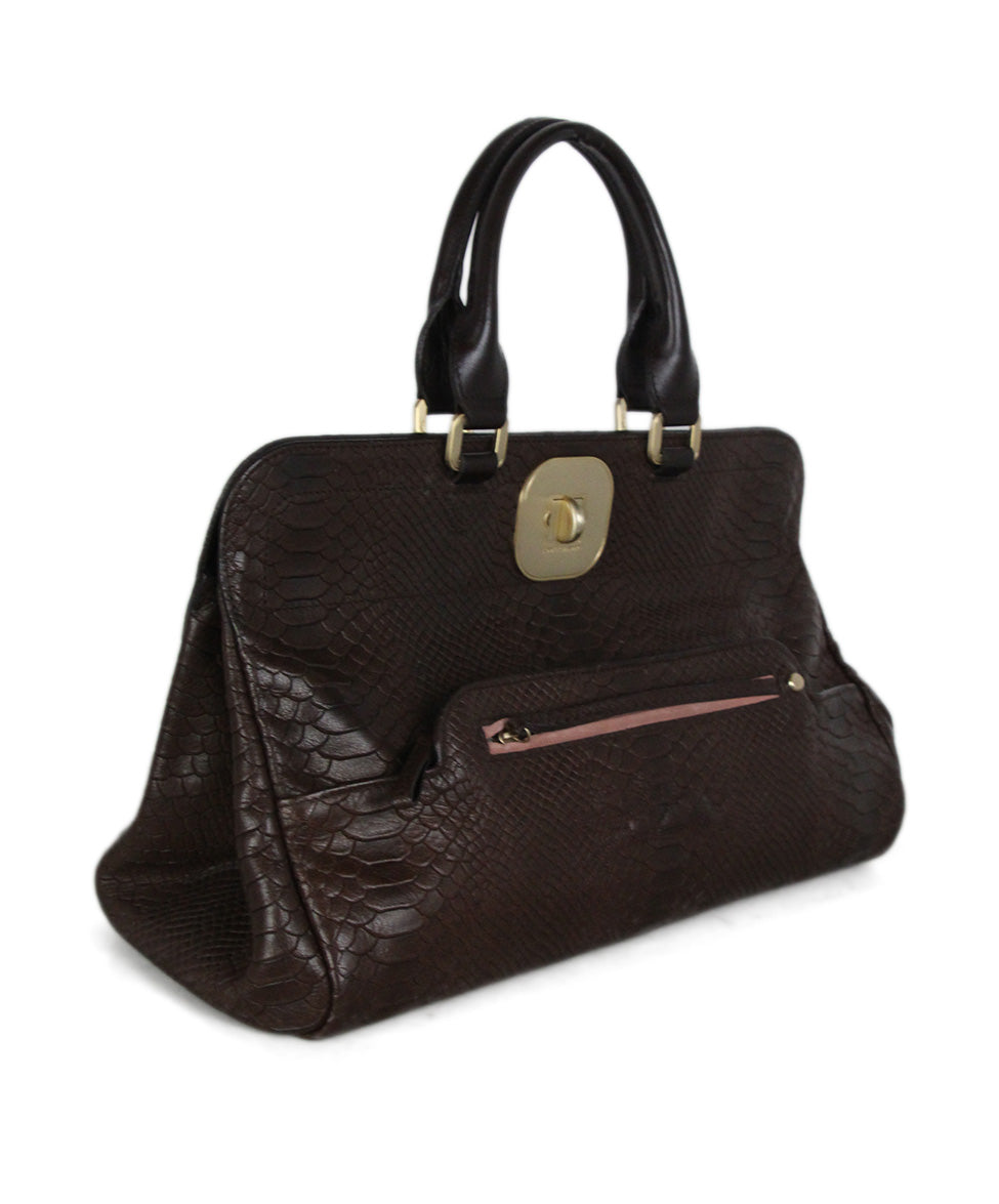 Longchamp brown pressed leather satchel 2