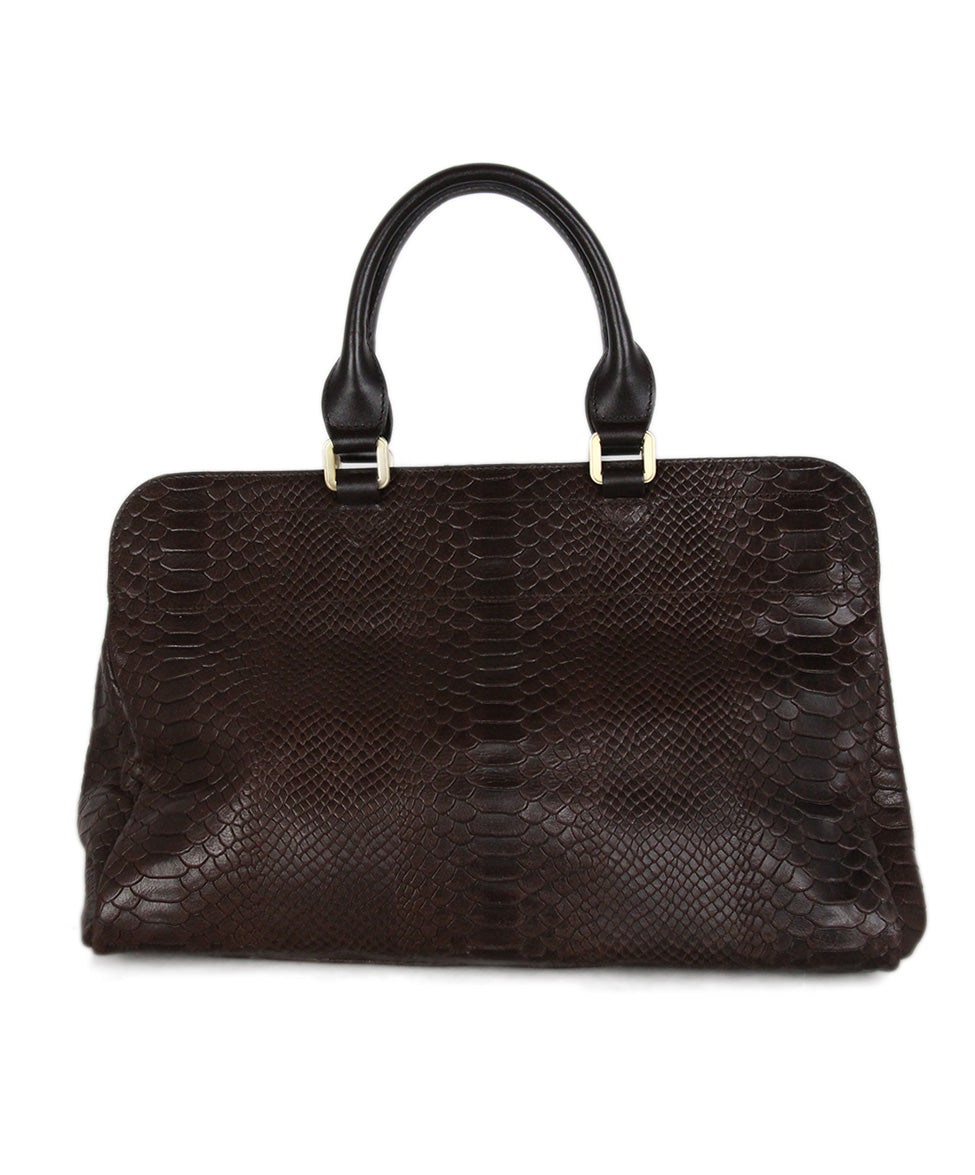 Longchamp brown pressed leather satchel 3