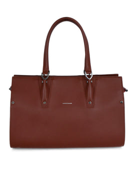 Longchamp Brown Chestnut Leather Orange Trim Satchel Handbag 1